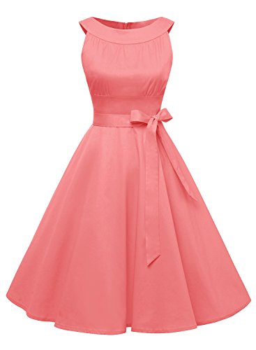 Timormode Robe Année 50 60 Vintage Femme Robe Rockabilly Plissée Pin-up en Coton 10408Coral XXL