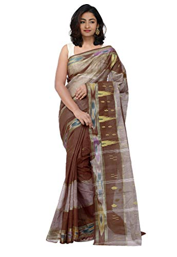 Unnati Silks Women Pure Handloom Bengal Cotton Tant Saree without blouse piece from the Weavers of West Bengal(UNM29065+Brown+Free size)