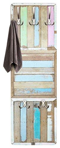 Apalis Garderobe Vintage - Rustic Timber - Wandgarderobe Blau | Design Garderobe Garderobenpaneel Kleiderhaken Flurgarderobe Hakenleiste Holz Standgarderobe Hängegarderobe | 139x46cm
