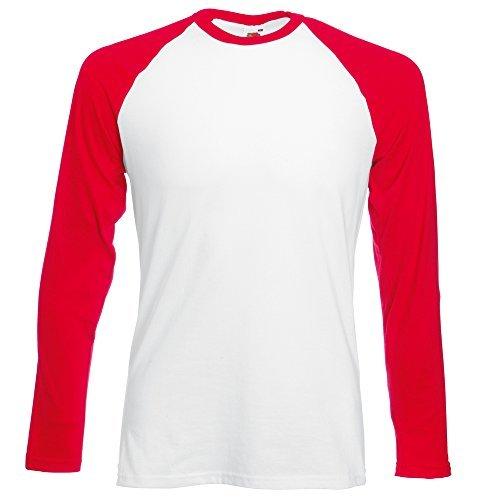Fruit of the Loom Manga larga béisbol camiseta - algodón, Blanco/ Rojo, tejido 100% algodón, Hombre, Medium