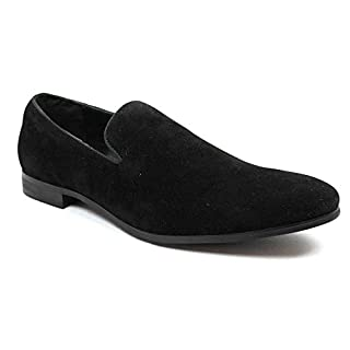 AZAR MAN New Men's Black Suede Slip on Loafers Modern Dress Shoes Size 11