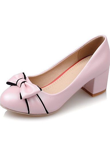 WSS 2016 Chaussures Femme-Bureau & Travail / Décontracté-Noir / Rose / Blanc-Gros Talon-Confort / Bout Arrondi-Chaussures à Talons-Polyuréthane pink-us5 / eu35 / uk3 / cn34