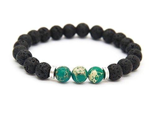 GOOD.designs Energiearmband aus Lavastein Naturperlen, Chakra Armband mit marmorierten Perlen in Verschiedenen Farben (Lava_Grün)