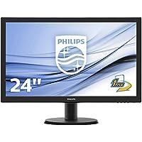 """Philips Monitores 243V5LHAB/00 - Monitor de 23.6"""" (resolución 1920 x 1080 pixels, tecnología WLED, contraste 1000:1, 1 ms, VGA), color negro"""