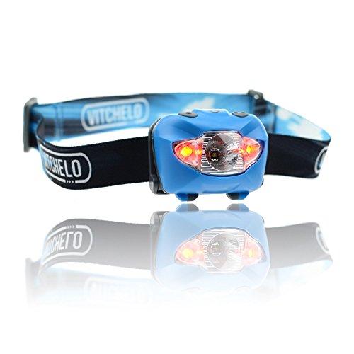 LED Stirnlampe zum Joggen, Camping, Angeln, Lesen - Beste und Hellste Kopflampe, wasserfeste Kopflampe, Lange Batterielaufzeit (Batterien mitinbegriffen), Anpassbarer Lichtkegel, haltbar, leicht, einfach bedienbar (Blau)