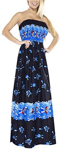 LA LEELA Schädel Halloween Skelett Kürbis Teufel Kostüm Frauen Maxi Kleid Halfter Vertuschung-Strand-Badeanzug Badebekleidung Cocktail blau