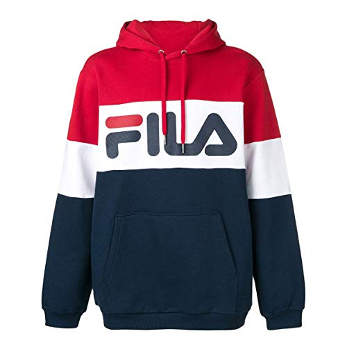 Fila - Men Night Blocked Hoody - Black Iris/True Red/Bright White