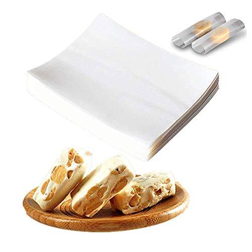 Süßigkeiten- und Schokoladenherstellung Glutinous Reispapier, Nougat Oblatenpapier, hochwertig, essbare Stärke, Verpackung Folien, 6,5 x 8 cm, 500 Blatt