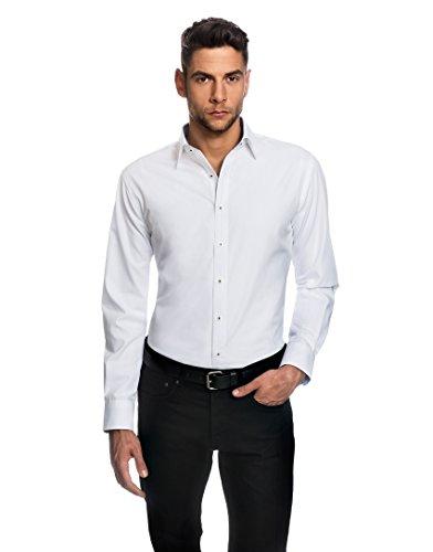 Embraer camicia uomo eleganti, taglio aderente/slim-fit, collo classico, manica lunga, in tinta unita con inserti in contrasto - non stiro/non-iron bianco 41/42