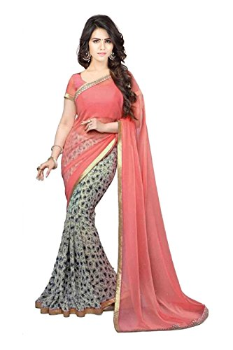 Janasya Women's Coral Half Half Georgette Printed Saree (JNE0971-SRE-CORAL)  available at amazon for Rs.499