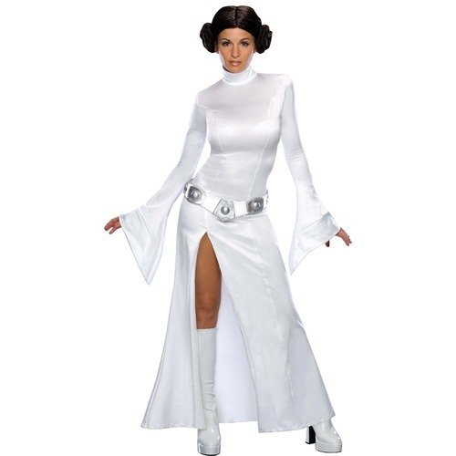 Damen Sexy Prinzessin Leia aus Star Wars Kostüm mit Perücke - lizensiert - Fasching Karneval Kostüm Outfit - EU 34-46 - Weiß, (Kostüme Sexy Prinzessin Leia)