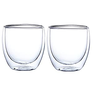 GLFY Insulated Double Wall Glasses,Heat-resistance Coffee Glasses Coffee Cup,Great for Latte, Cappuccino,Tea, Milk,Beer,Juice- Set Of 2,Transparent