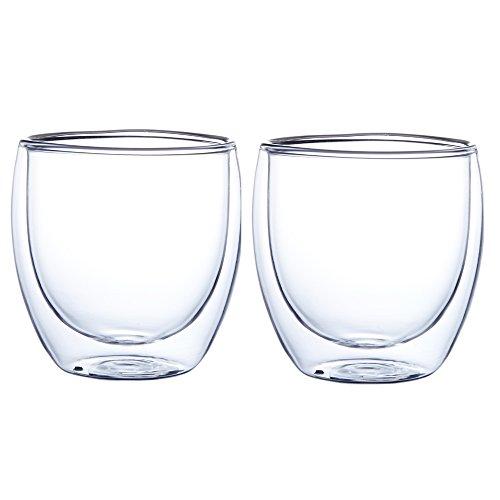 GLFY - Verres isothermes transparents à double paroi pour café, latte, cappuccino, thé, lait, bière, jus de fruit (lot de 2), 250 ml