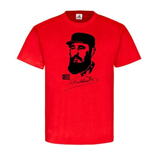 Kuba Fidel Castro Unterschrift Havanna Revolutions Regierungschef Staatspräsident Staatsoberhaupt Gedenken Präsident Fan Ehren Fahne T-Shirt Hemd #19651, Größe:S, Farbe:Rot
