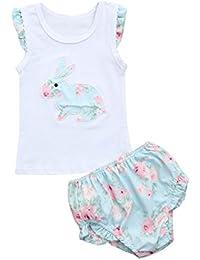PAOLIAN Ropa para Babe Niñas Verano Conjuntos Sin Manga Camisas y  Pantalones Cortos Impresiones Florales y a015990eeac1