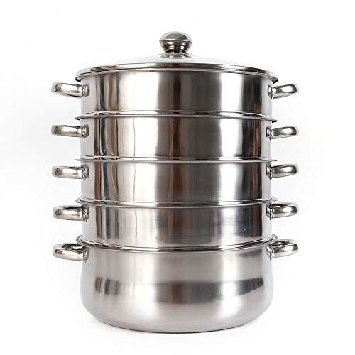 RANZIX 5 Tier Edelstahl Dampfgarer Dampfkocher Dampfkochtopf Kochtopf Mantowarka, Gardampfkochtopf Set mit Induktionsboden (mit Metallgriffen) (Durchmesser : 30cm)