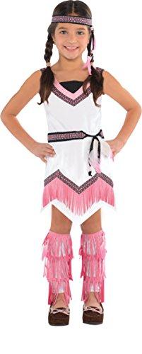 Amscan Indianer-Kostüm für Mädchen Karneval Weiss-rosa 128/140 (8-10 Jahre)