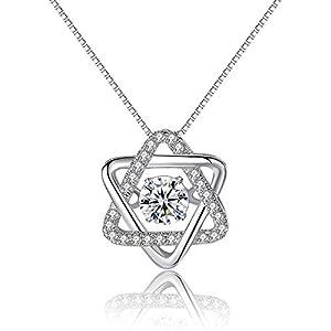 HFJ&YIE&H 18K Weiß-Gold-Halskette Weibliche Sterling-Silber-Pendant-Set Mit Zirkon-Clavikel-Kette Für Frauen