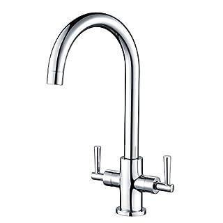 Hapilife Kitchen Sink Mixer Taps Monobloc Dual Lever Chrome Brass Swivel Spout Mono
