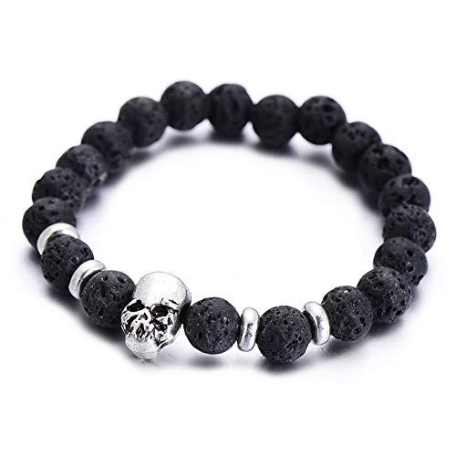 MHOOOA Natursteine Silber Farbe Armbänder Für Frauen Handwerk Seil Kette Schwarz Lava Stein Perlen Männer Armband Geschenk
