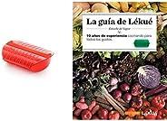 Lékué Estuche de vapor con bandeja, 3-4 personas, Capacidad: 1400 ml, color rojo + Recipiente para cocinar Qui