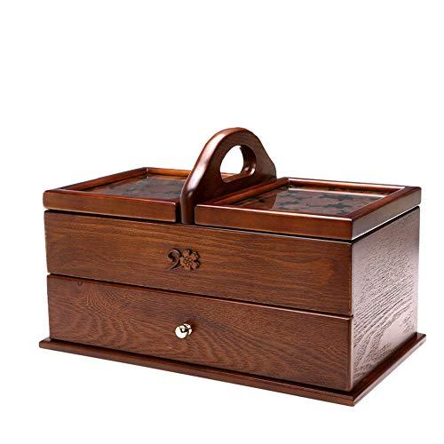 WUHX Holz Schmuckschatulle Geschnitzte Kosmetische Aufbewahrungskisten Haushalt Nähen Box mit Deckel Frisiertisch und Schublade Große Rechteckige Box 35 * 20 * 22,5 cm,B - Schubladen Nähen