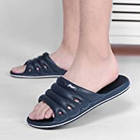 fankou Home Slippers Men and Indoor Household Plastic Soft, Non-Slip Bath Light Bathroom Slippers Summer Stay Cool Slippers,40, Dark Blue