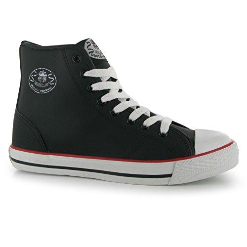 Baskets Dunlop Femme Micro Haute Chunky semelle en dentelle cheville jusquSport Chaussures Noir - noir