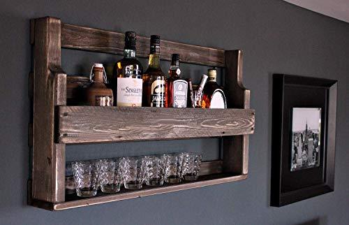 dekorie Holz Whiskey Regal mit Gläserhalter Vintage Shabby braun fertig montiert
