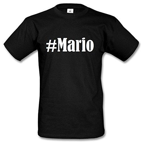T-Shirt #Mario Hashtag Raute für Damen Herren und Kinder ... in den Farben Schwarz und Weiss Schwarz