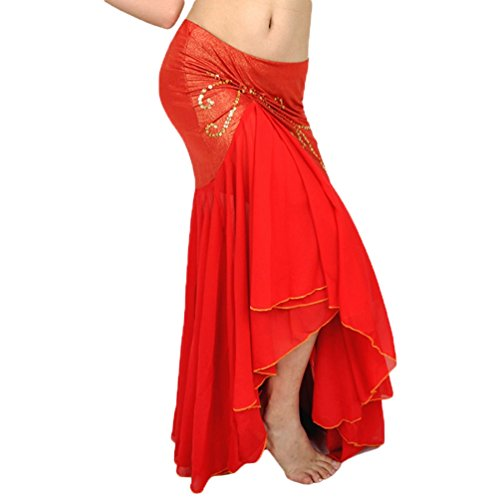 YuanDian Damen Chiffon Fischschwanz Bauchtanz Langer Rock Unregelmäßiger Eleganter Beruflicher Arabischer Orientalischer Tanz Stammes Fusion Röcke Kostüm - Arabisch Tanz Kostüm