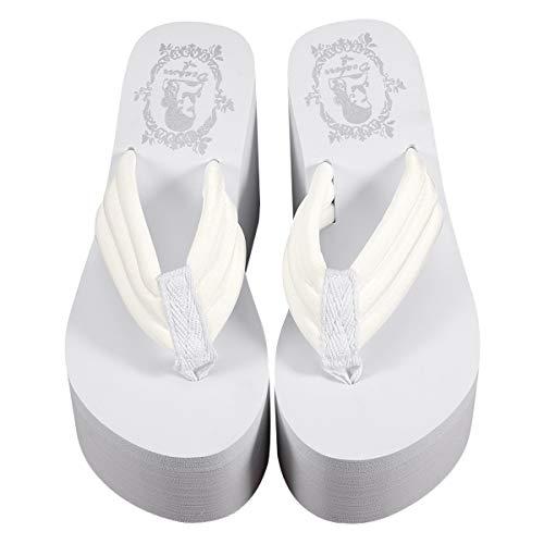 TENDYCOCO 1 paio di pantofole con tacco piattaforma e pantofole in schiuma da spiaggia per donna donna donna taglia 37 bianco