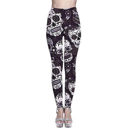 YEBIRAL Damen Sport Leggings Yoga-Fitness-Hose mit Hohe Taille Printed Laufen Jogginghose Elastische Streetwear & Sporthose S-XXXXXL Schwarz, Blau, Grün, Violett, Rot(XXXXL,Schwarz)