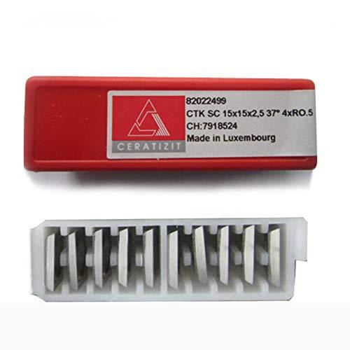 RTing 15 mm quadratische 4-schneidige Hartmetall-Wendeschablonen für Holzarbeiten, Spiralschneider, Hobelkopf, 10 Stück pro Packung, rot