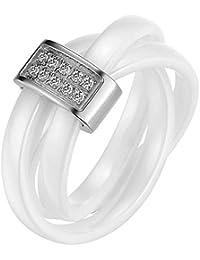 JewelryWe Bijoux Bague Femme Anneaux Entrelacé Faux Diamant Mariage Céramique Acier Inoxydable Anneaux Fantaisie Couleur Argent Blanc Largeur 3mm Avec Sac Cadeau(Taille de Bague Optionnel)