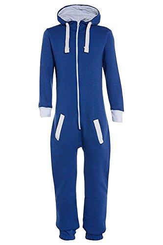 Unisex Jungen Kinder Plain Strampelanzug Zip UP All In One Kapuzen Jumpsuit 7-13 (11-12, Königsblau)