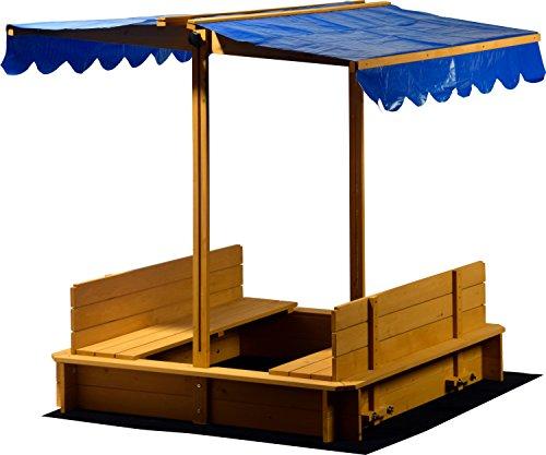 Sandkasten mit schwenkbarem Dach, Sitzbänke, Bodenplane, verschließbare Sandkiste aus Holz für Kinder, 120 x 120 x 120 cm, hellbraun