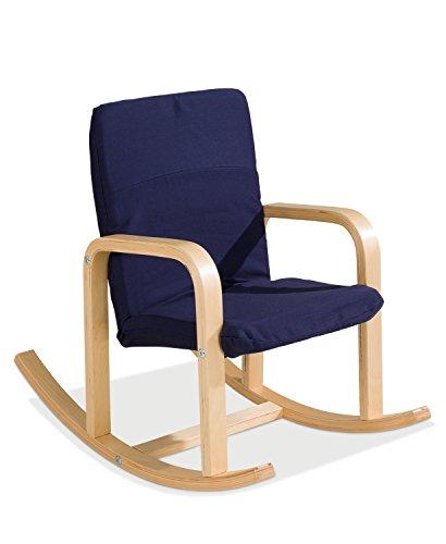 Home4You Kinder-Schaukelstuhl Kindersessel Kinderstuhl BERNIE | Dunkelblau | Holz | Baumwolle