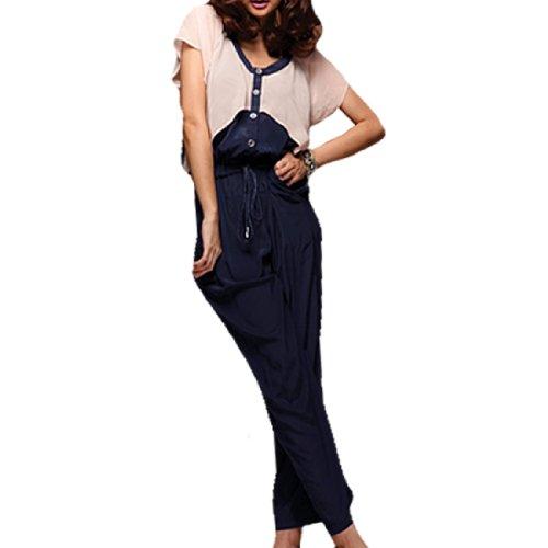Femme Rose Chiffon Accent Bleu Marine Taille Élastique Combinaison XS Bleu