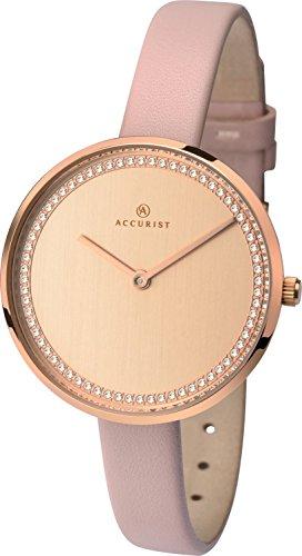Accurist Femme montre à quartz avec cadran Rose doré analogique et bracelet cuir Rose 8232