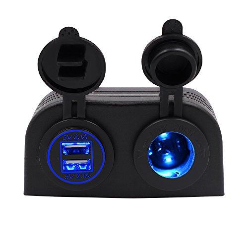 BlueFire 4.2a Dual USB Ladegerät Steckdosen + 12V/24V Zigarettenanzünder Zwei Loch Zelt Typ Panel für Auto Motorrad Boot Marine ATV RV