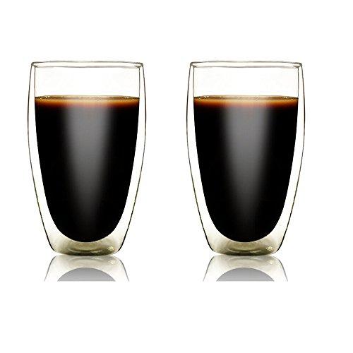 Doppelwandige Weingläser, starke Doppelwandige isolierte Trinkgläser Thermo Espresso Gläser Latte...