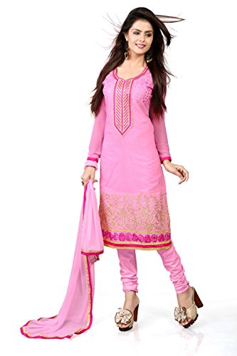 Khushali Women Chanderi Unstitched Salwar Suit (Baby Pink)  available at amazon for Rs.828