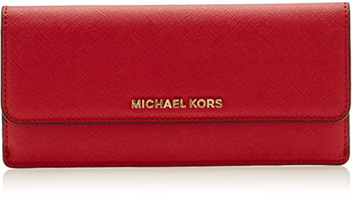 Michael Kors Damen Flat Wallet Geldbörse, Rot (Bright Red), 0.6x10.2x19.7 centimeters (Rot Geldbeutel Michael Kors)