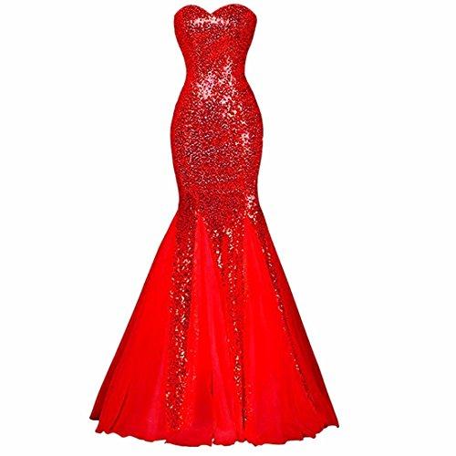 Damen Trägerlose Elegante Pailletten Schlank Bodycon Fischschwanz Braut Hochzeit Maxi Kleider Lange Abend Prom Cocktailkleid 12 Farben EU - Kleid Rote Prom Lang