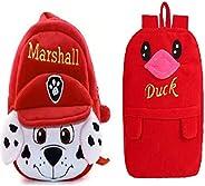Sakwoods Kids Velvet Backpack Combo Pack Of 2 Red