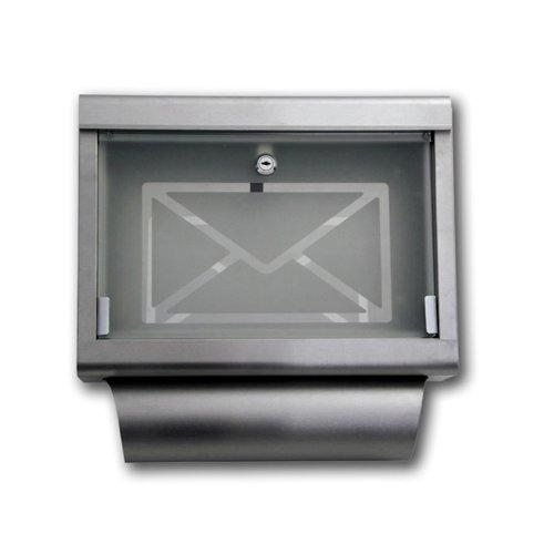 Jago brk-01–Briefkasten aus Stahl mit Zeitungsfach und Zeitungsrolle