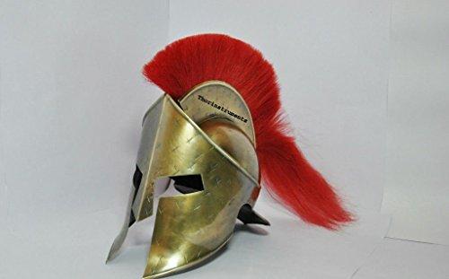 thor-instruments-co-300-leonidas-casque-antique-en-laiton-antique-finition-avec-plume-rouge