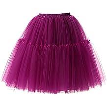 Falda de Tul de Princesa de la Falda del Doble 50s de la Vendimia Traje de Falda de Disfraz Mujer Enagua Oscilación Tutú Organza Falda de Ballet Pettiskirt Vestido de Rockabilly con 6 Capas
