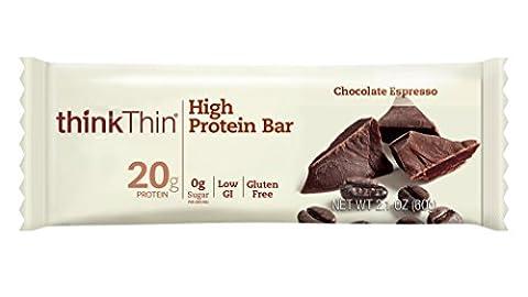 thinkThin High Protein Bars, Chocolate Espresso, 2.1 oz Bar (10